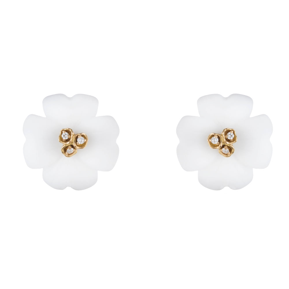 Medium Clover Floral Stud Earrings