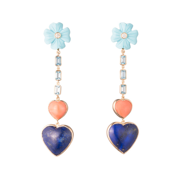 Clover & Double Heart Drop Earrings