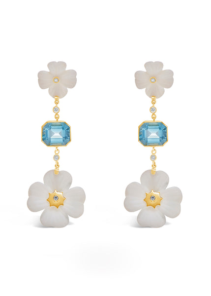 Double Clover and Bezel Set Blue Topaz Earrings