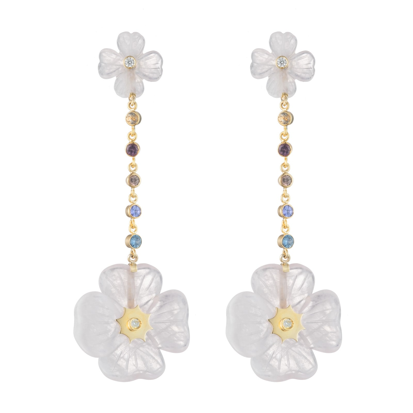 Double Clover Multi-Color Bezel Set Sapphire Drop Earrings