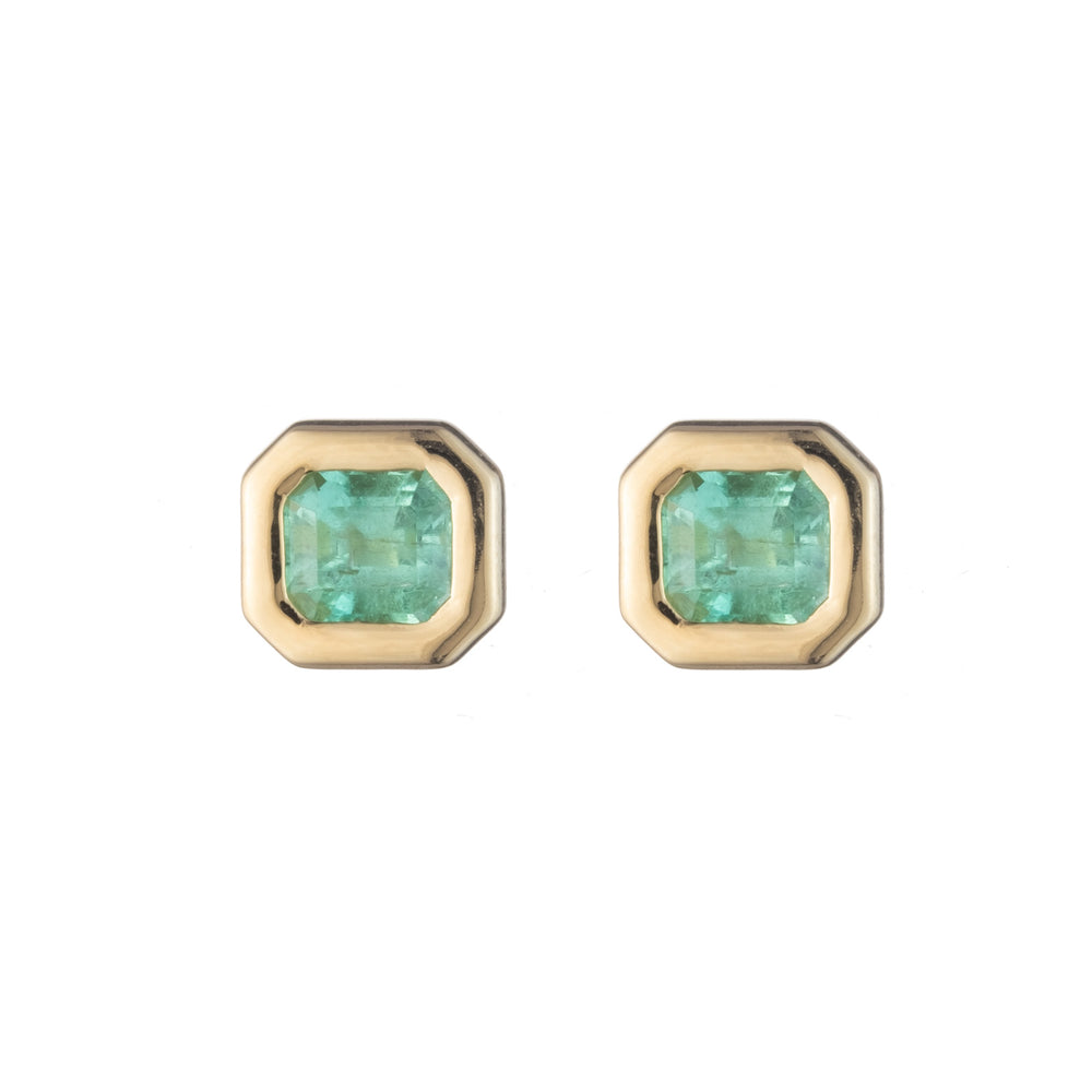 Emerald Gypsy Bezel Set Studs
