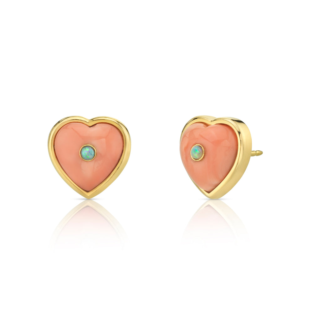 Puff Heart Studs with Stone Insets
