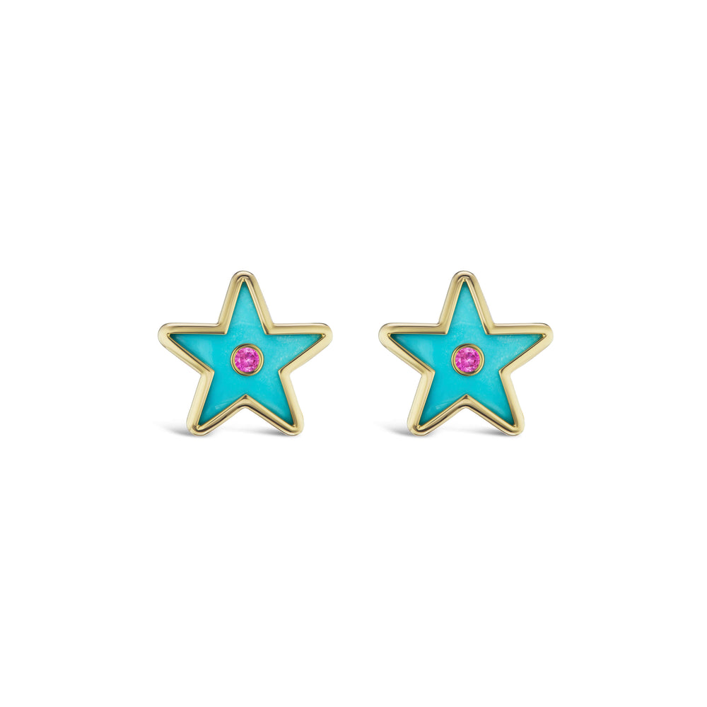 Star Inlay Studs with Sapphires