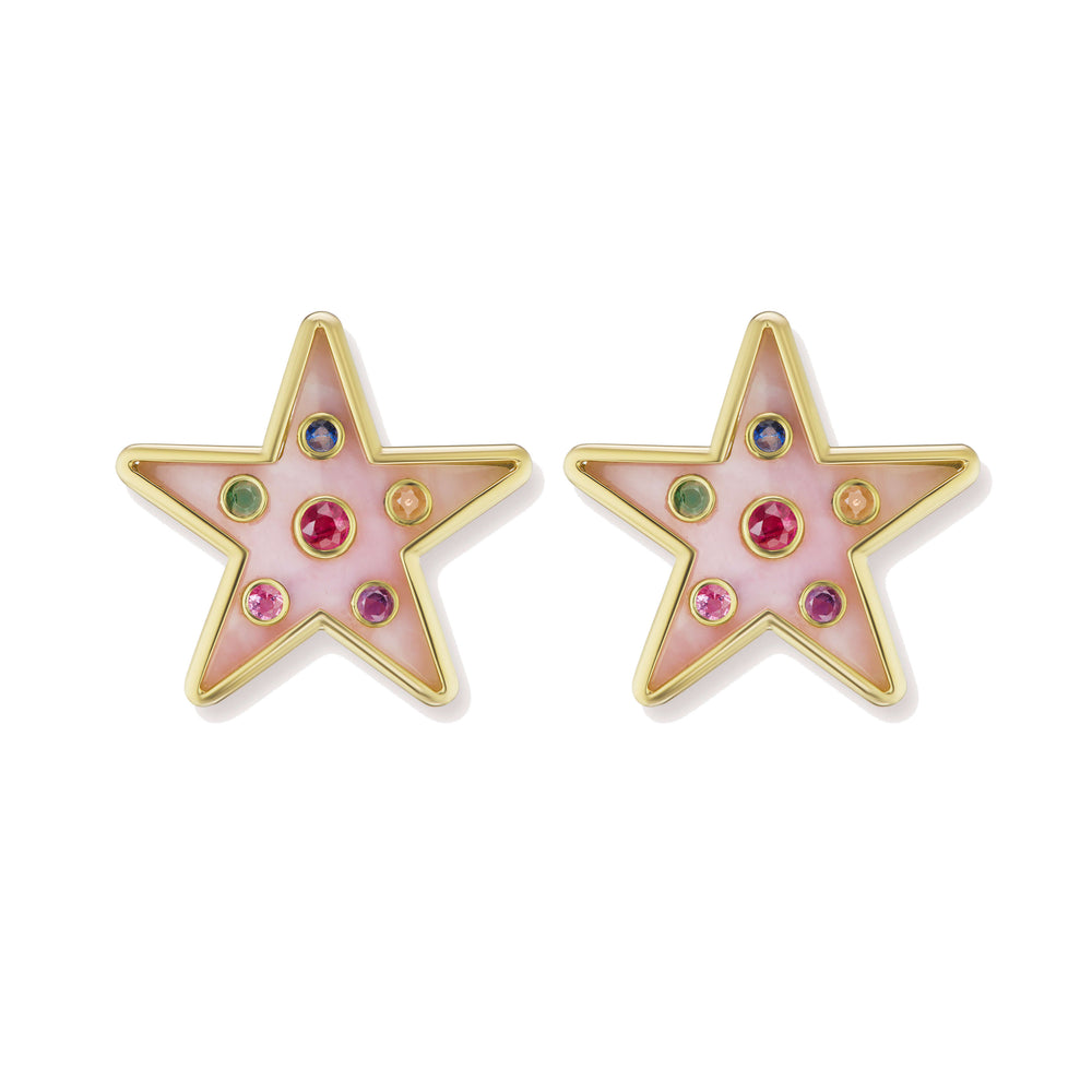 Large Star Inlay Earrings with Gemstones