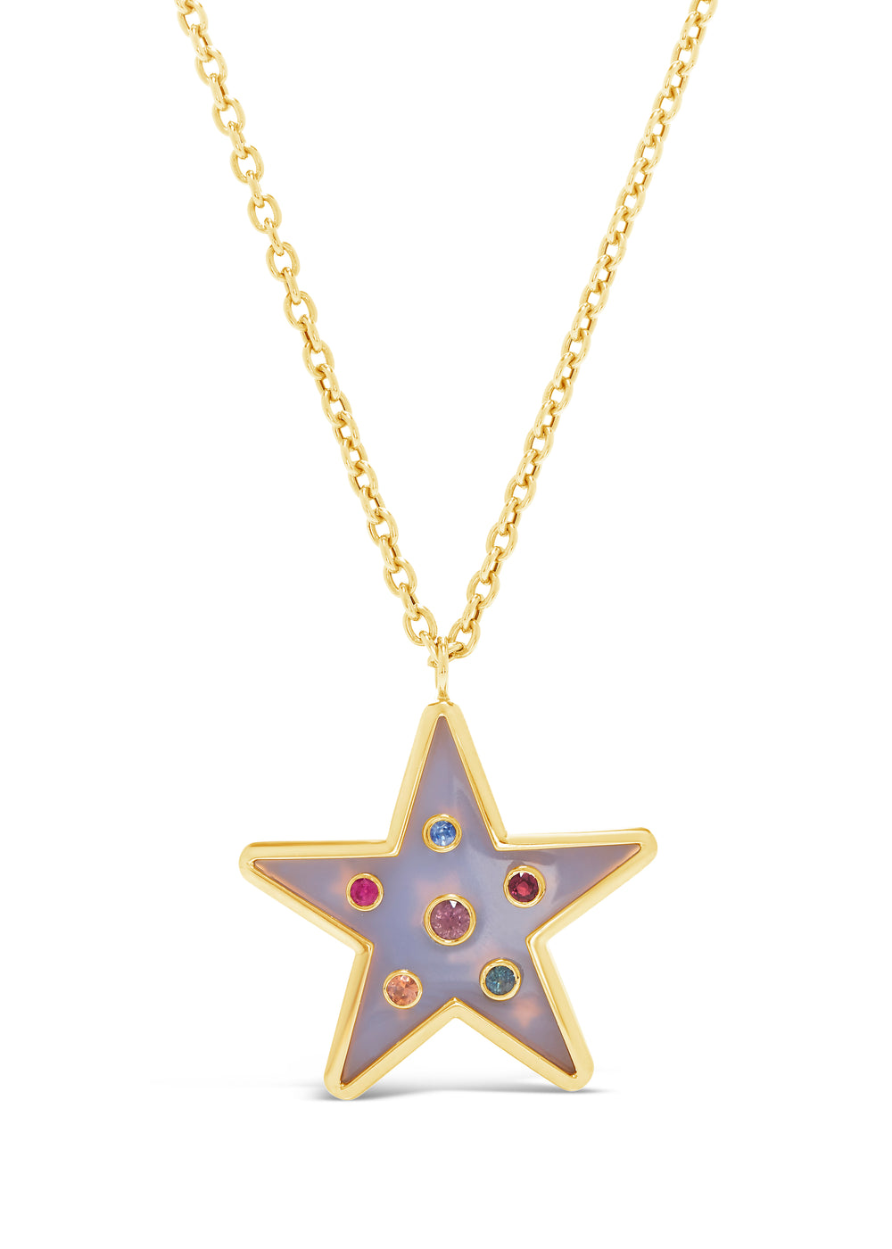 Single Star Inlay Pendant with Multi-Color Sapphires