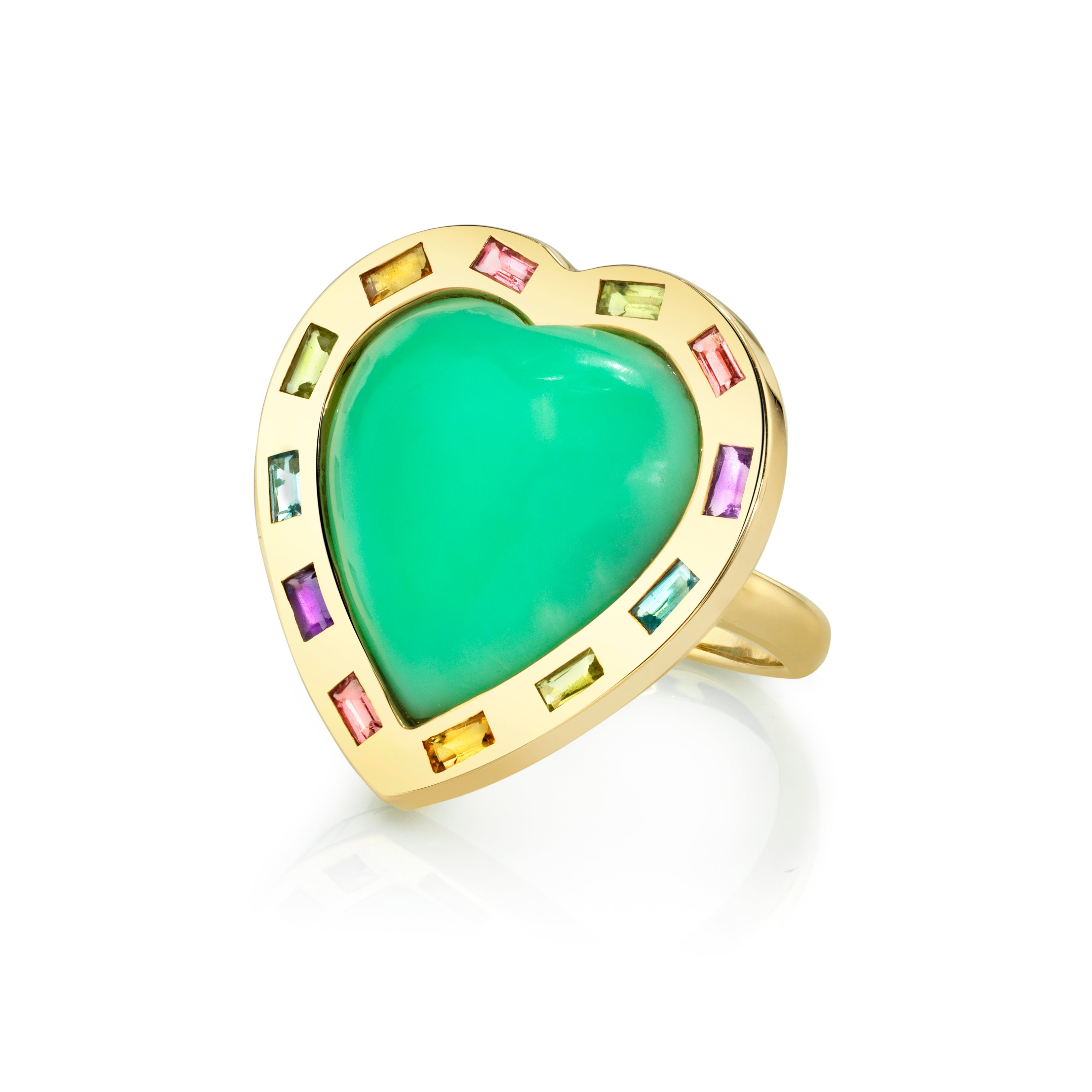 Large Puff Heart Ring with Multi-Colored Gemstones