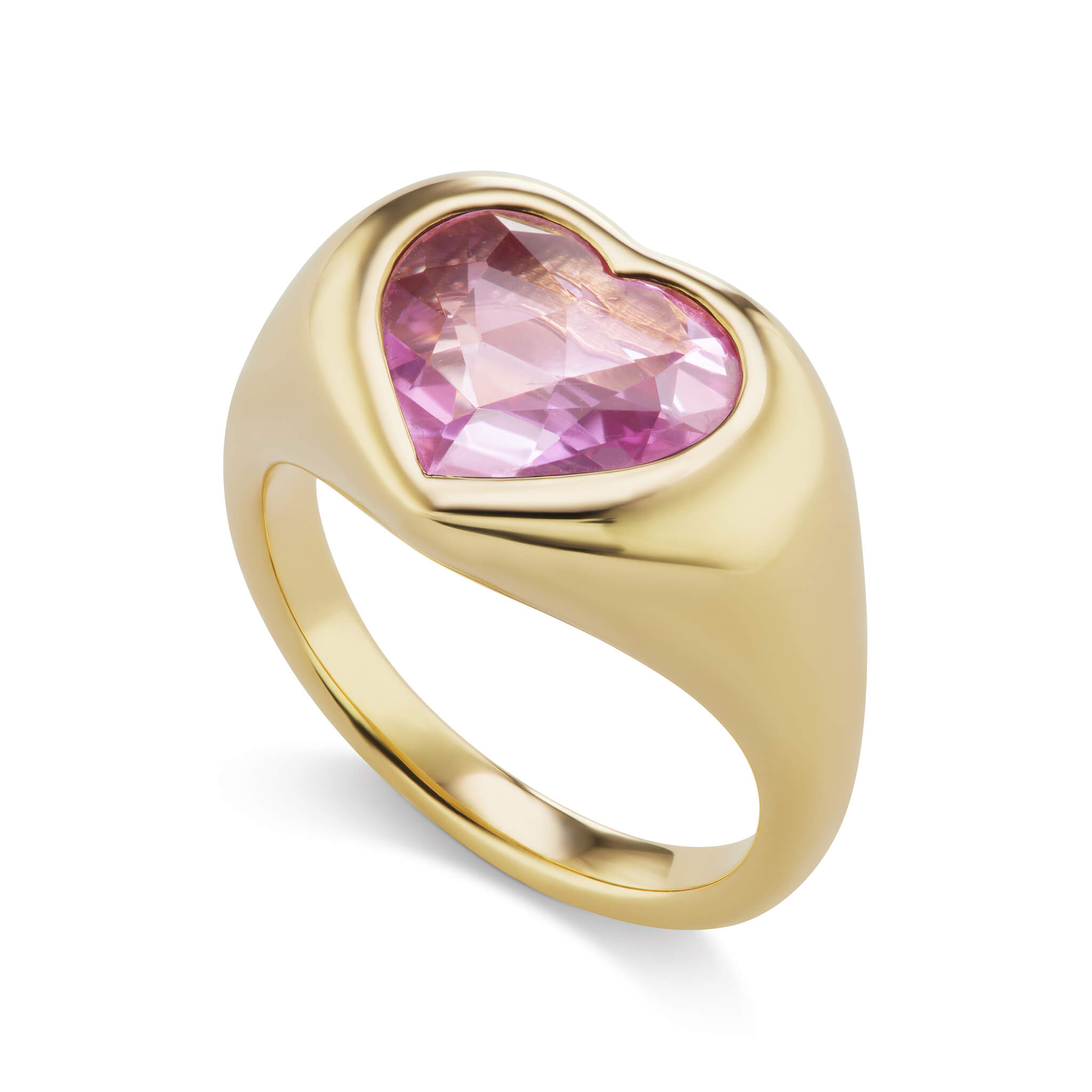 Pink Sapphire Heart Gypsy Ring