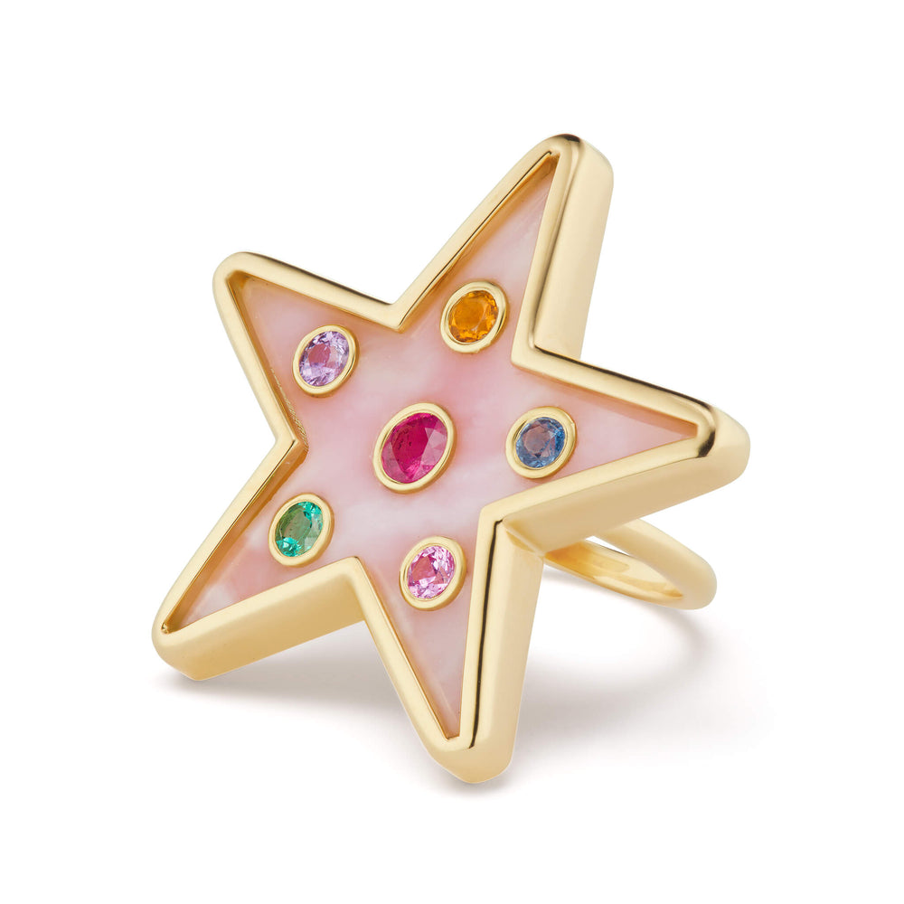 Star Inlay Ring with Gemstones