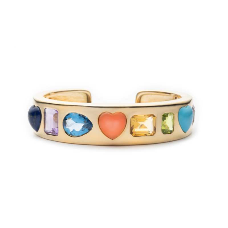 Multi-Color Gemstone Gypsy Bangle