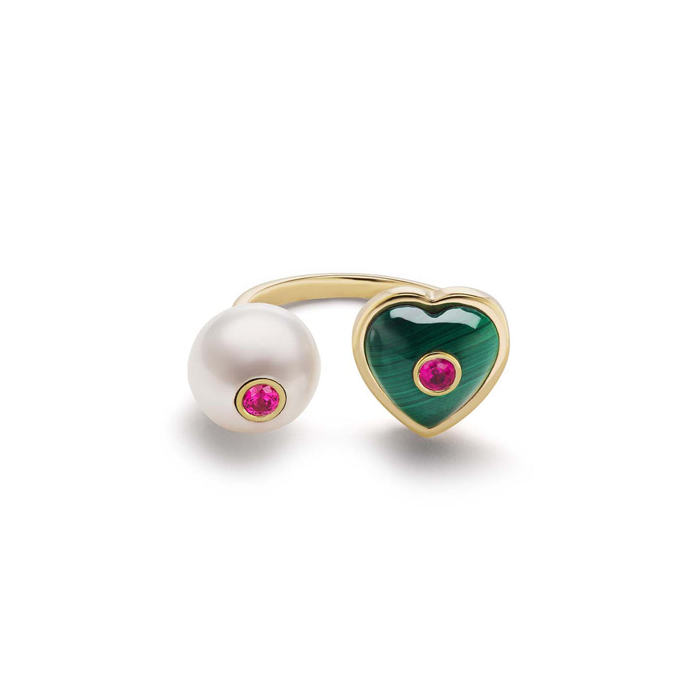 Pearl and Puff Heart Ring
