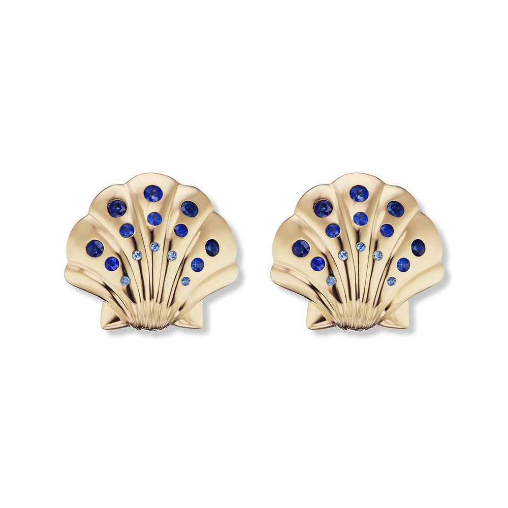Gold Shell Earrings with Sapphires