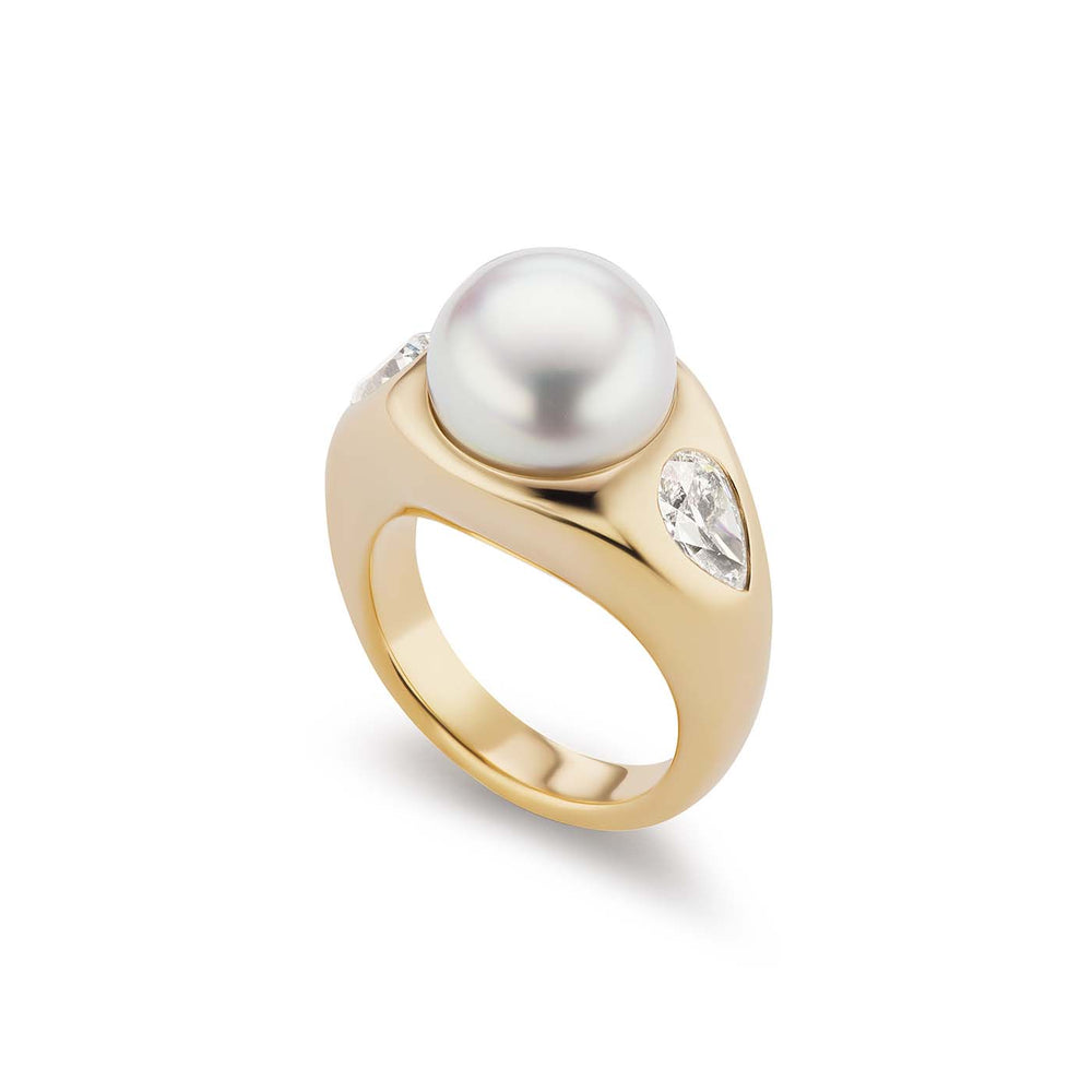 Pearl & Diamond Gypsy Ring