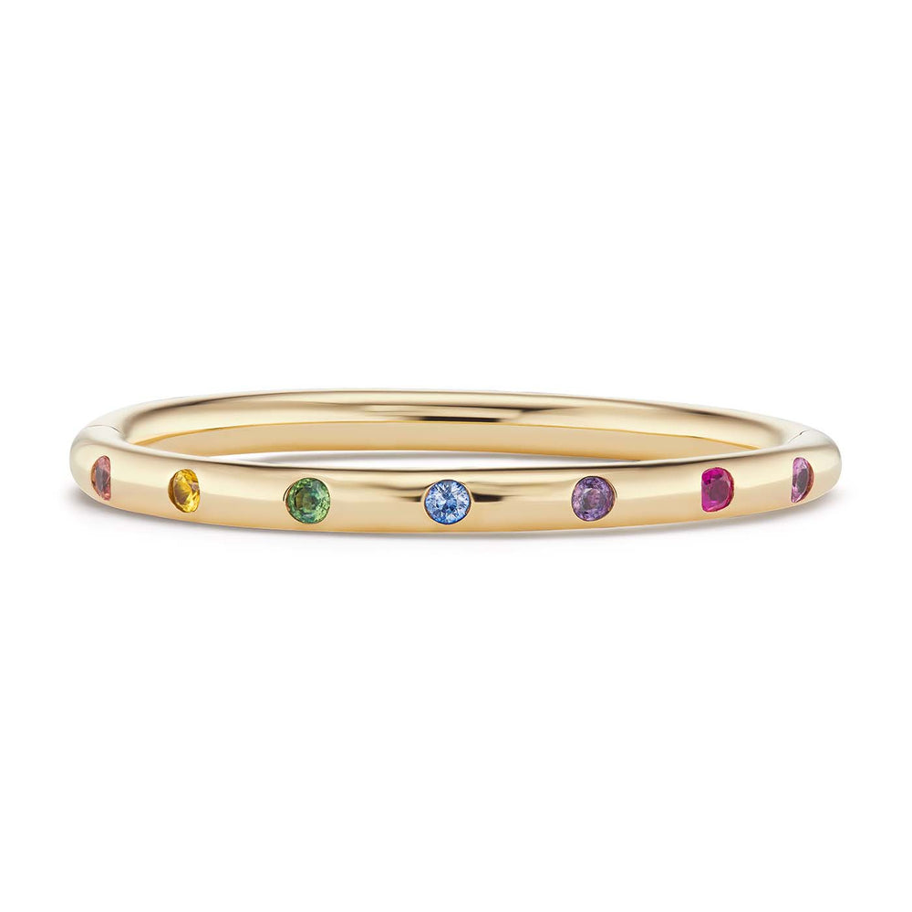 Narrow Bangle with Rainbow Sapphires