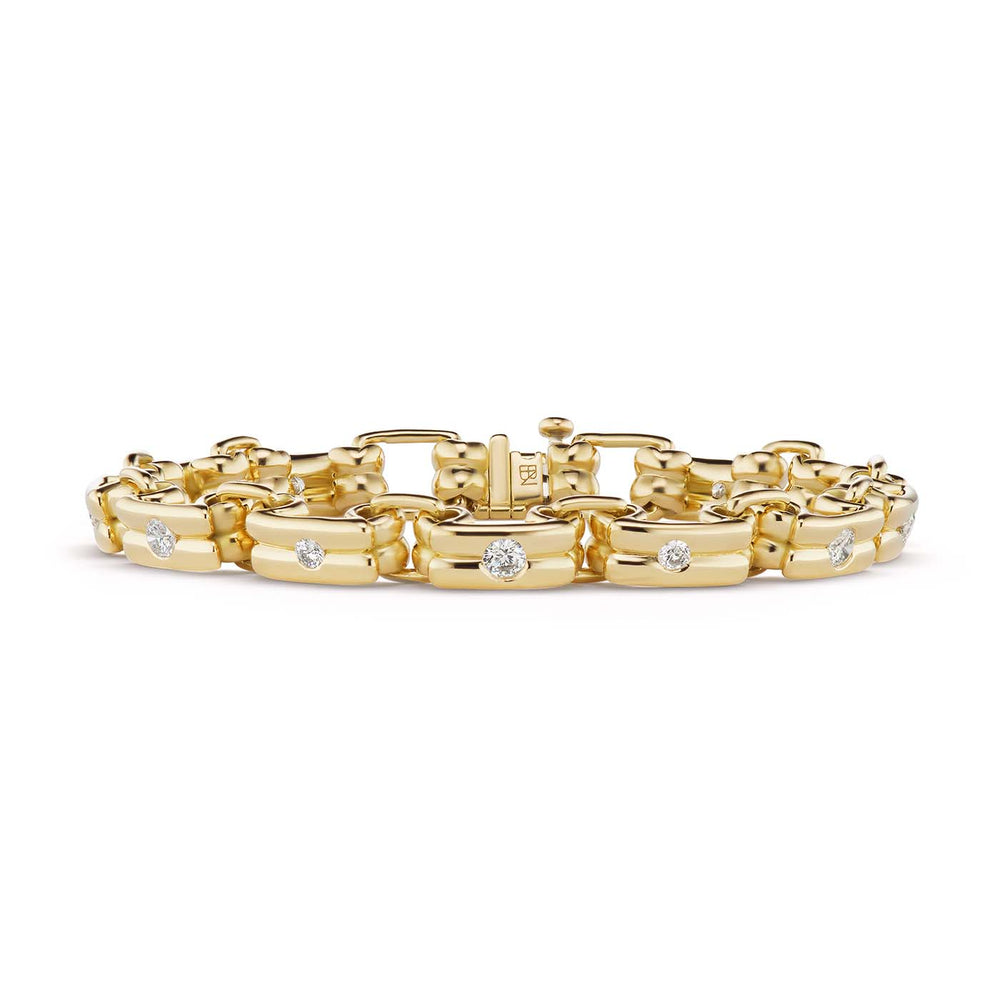 Narrow Link Bracelet with Diamonds