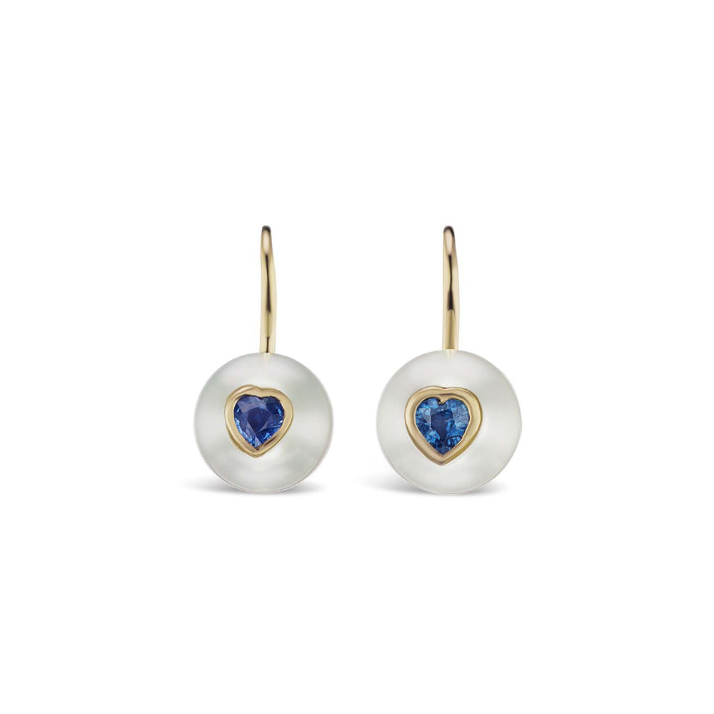Pearl On Wire Earrings with Blue Sapphire Hearts