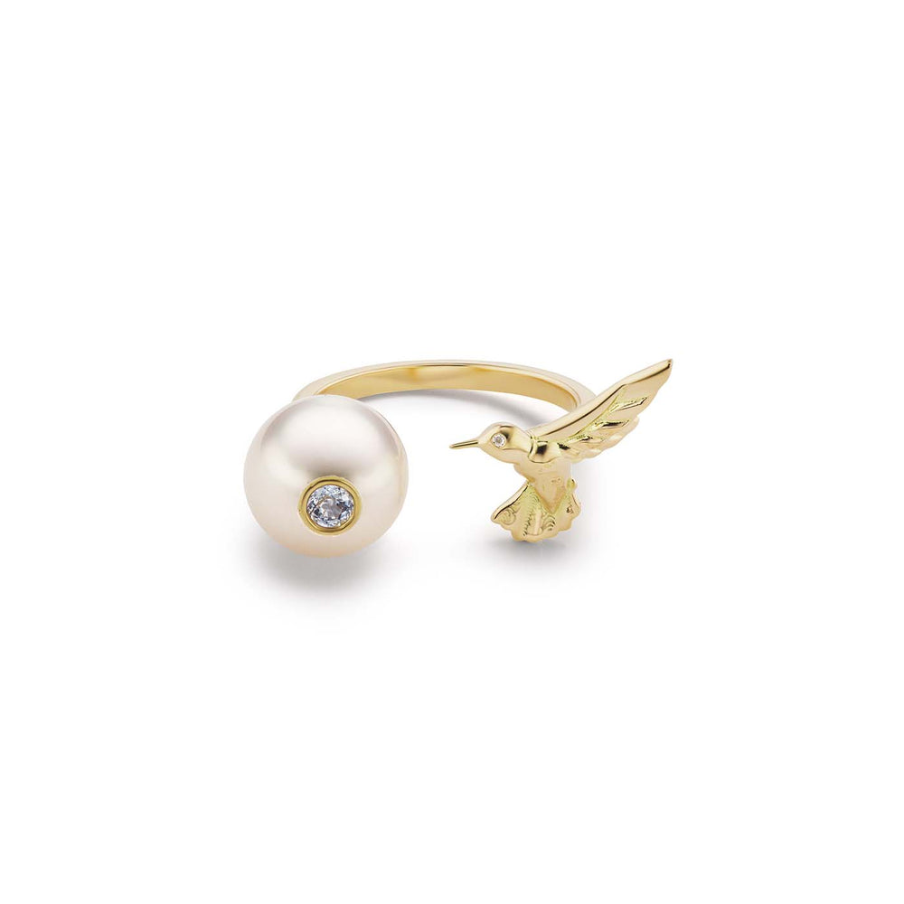 Pearl and Hummingbird Ring