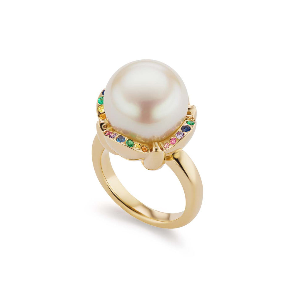Rainbow Clamshell Pearl Ring