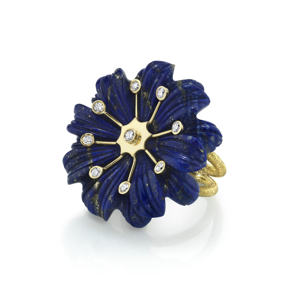 Large Single Wildflower Ring with Diamond