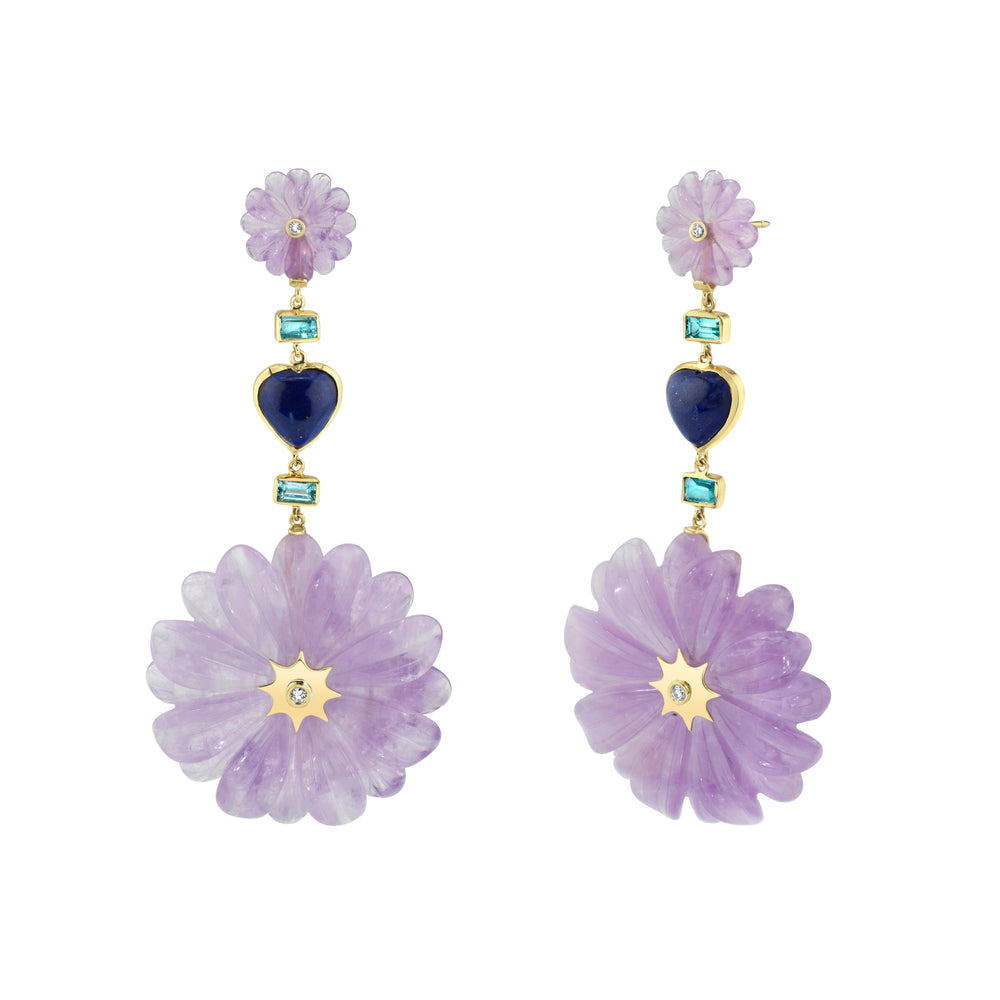 Double Amethyst Wildflower & Heart Drop Earrings