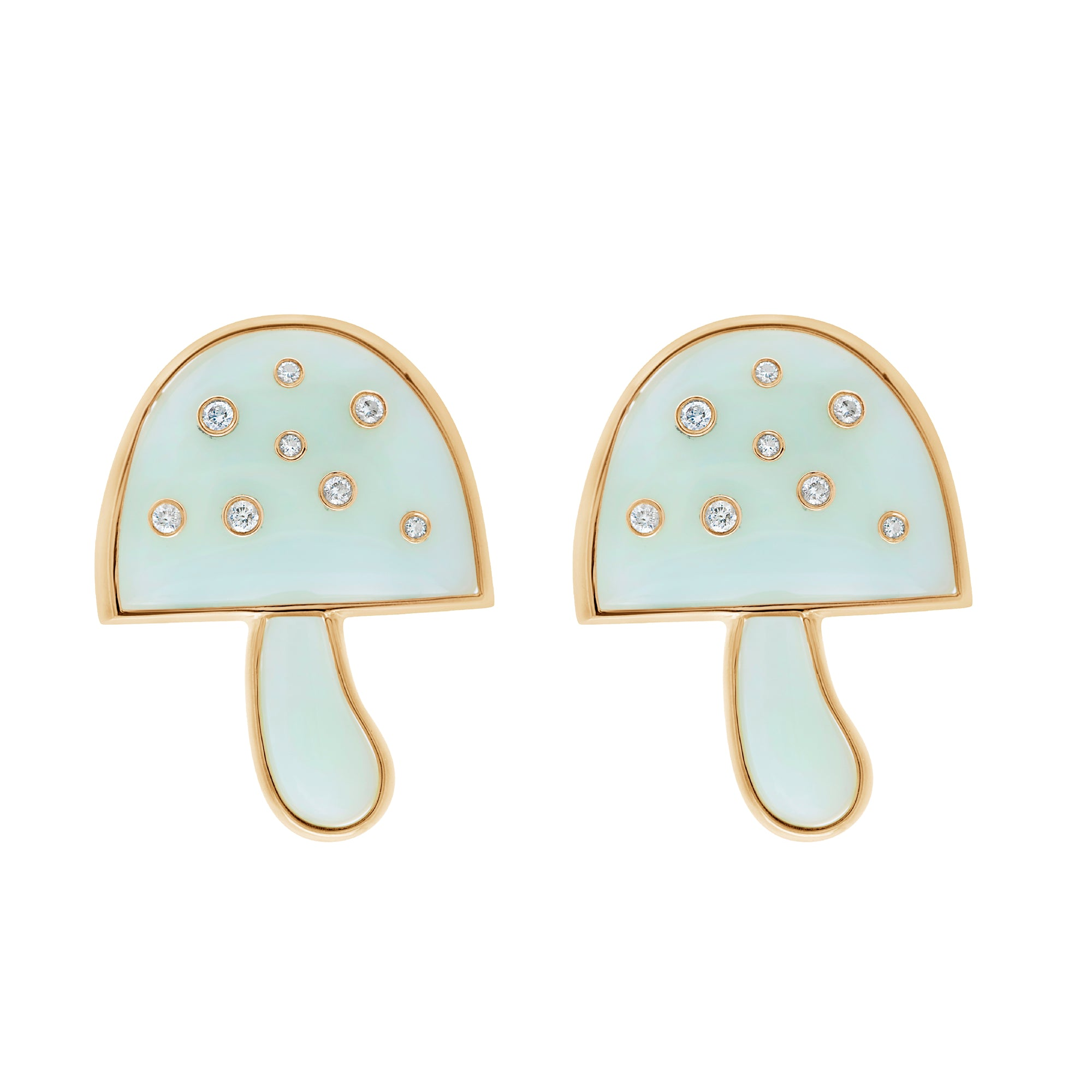 Magic Mushroom Dot Earrings with Diamonds