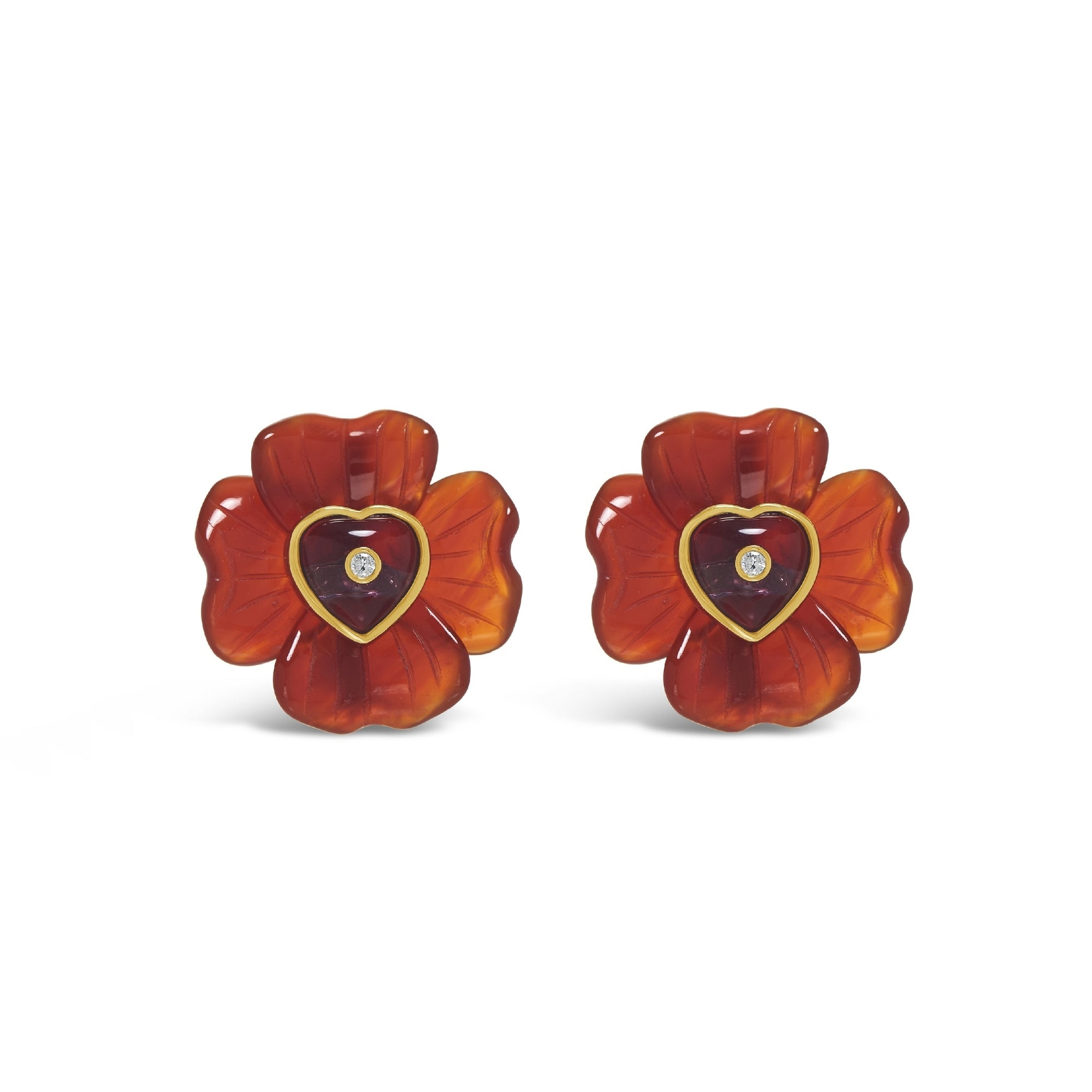 Medium Clover & Puff Heart Stone Inset Studs