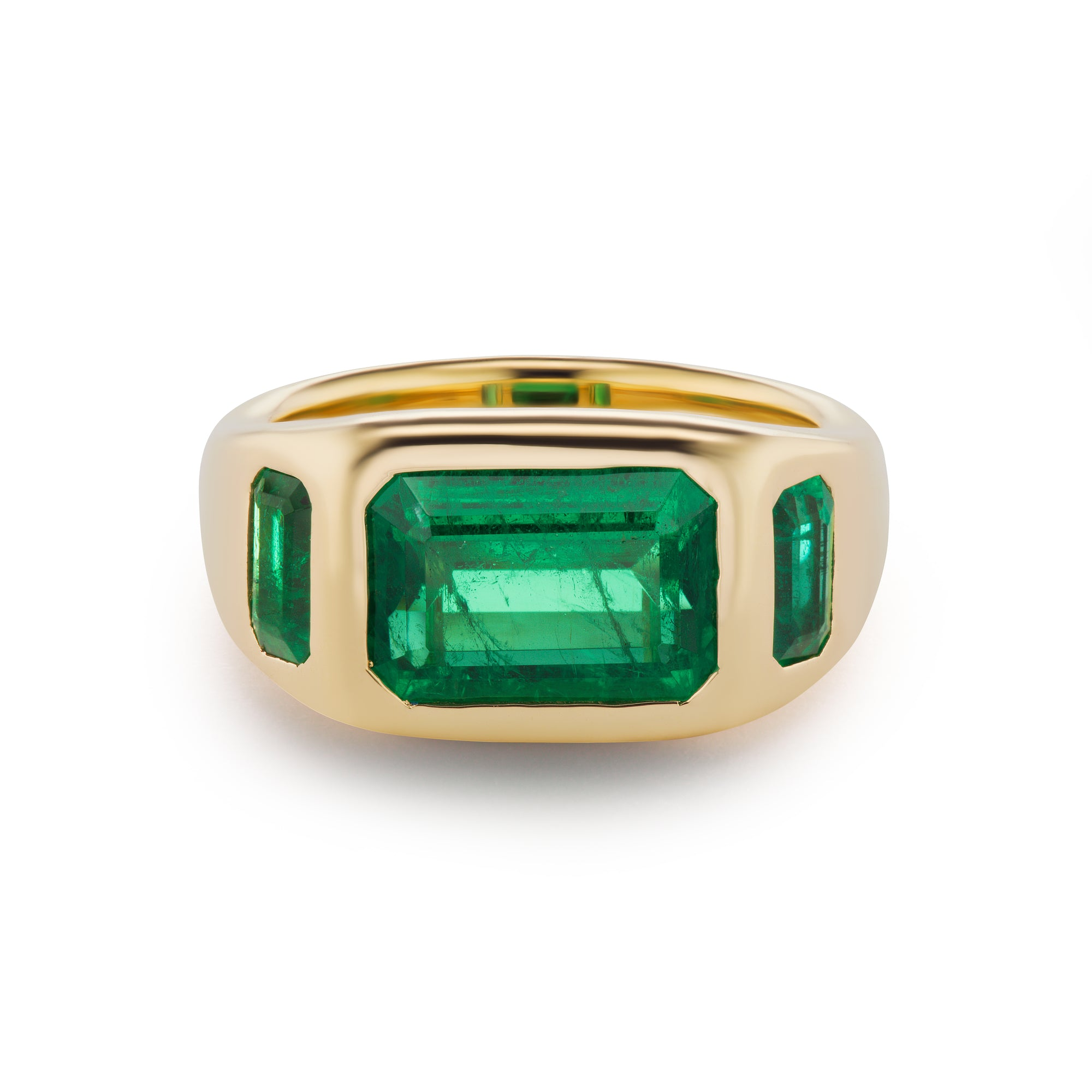 One-of-a-Kind All Emerald Gypsy Ring