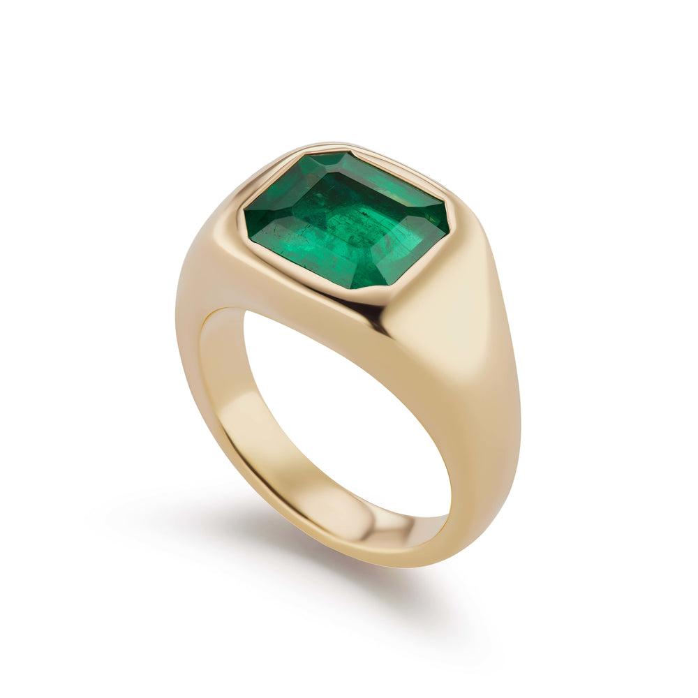 One-of-a-Kind Single Emerald-Cut Emerald Ring