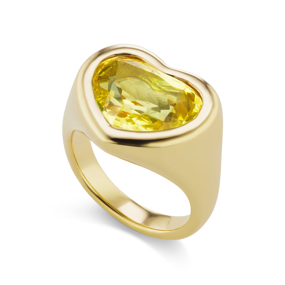 Yellow Sapphire Heart Gypsy Ring