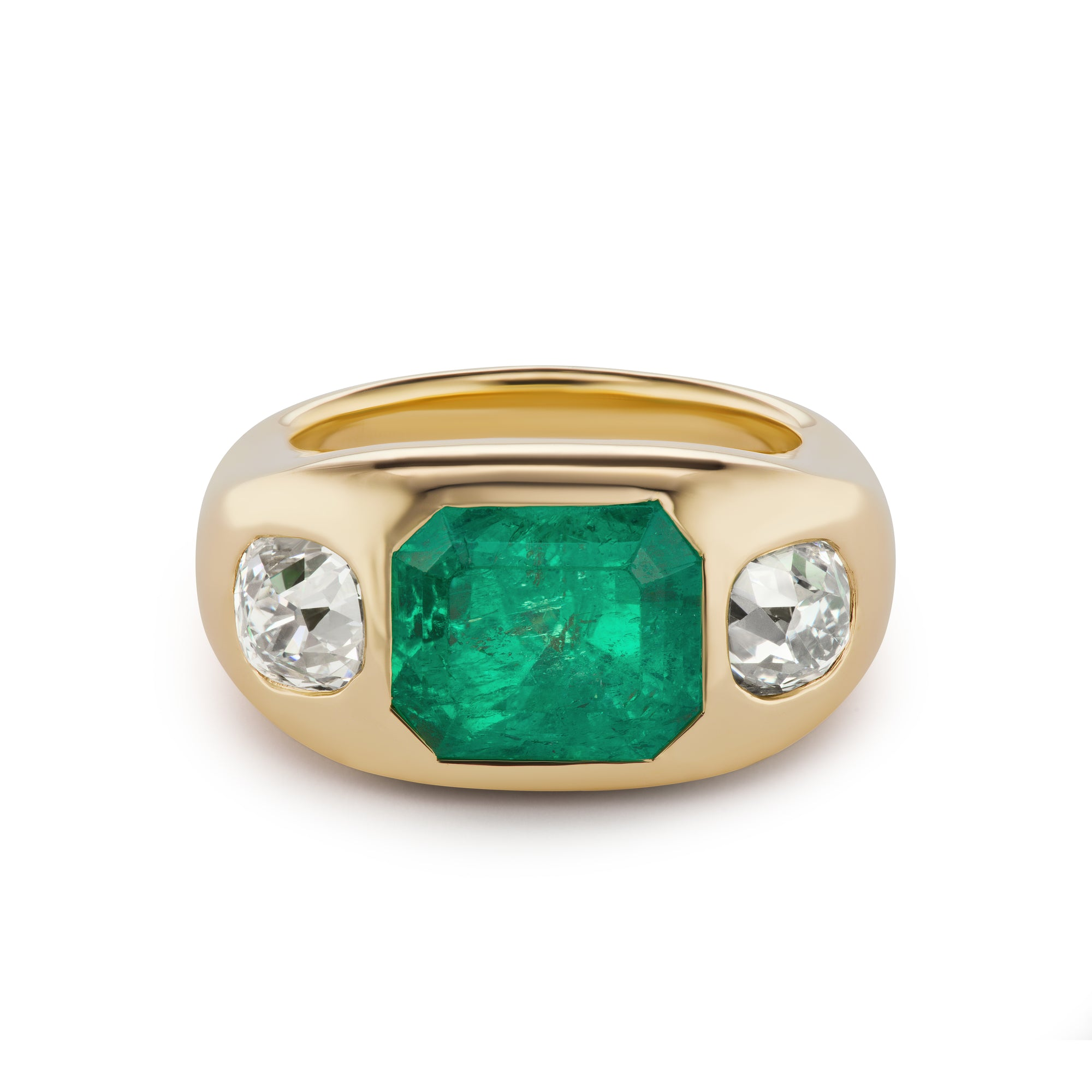 One-of-a-Kind Emerald and European-cut Diamond Gypsy Ring