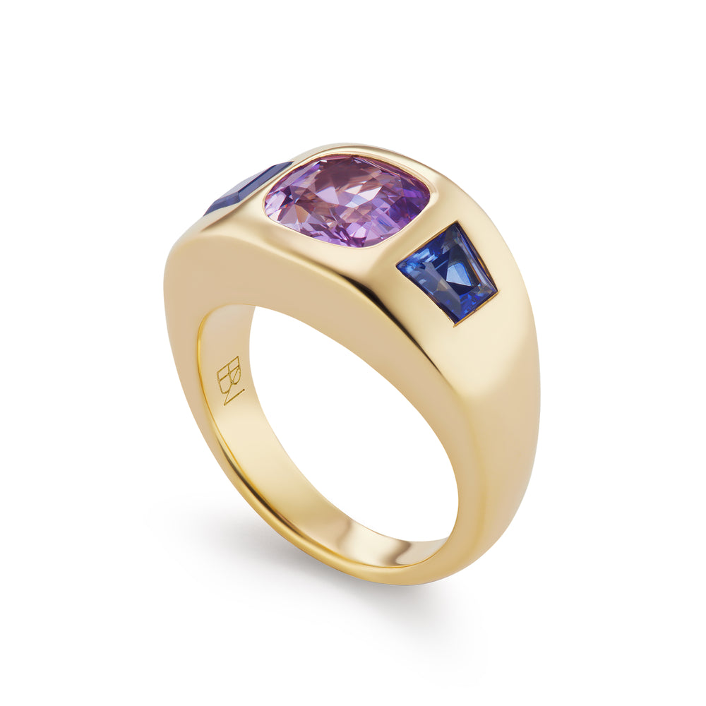 One-of-a-Kind Purple Sapphire Gypsy Ring with Blue Sapphire Sides