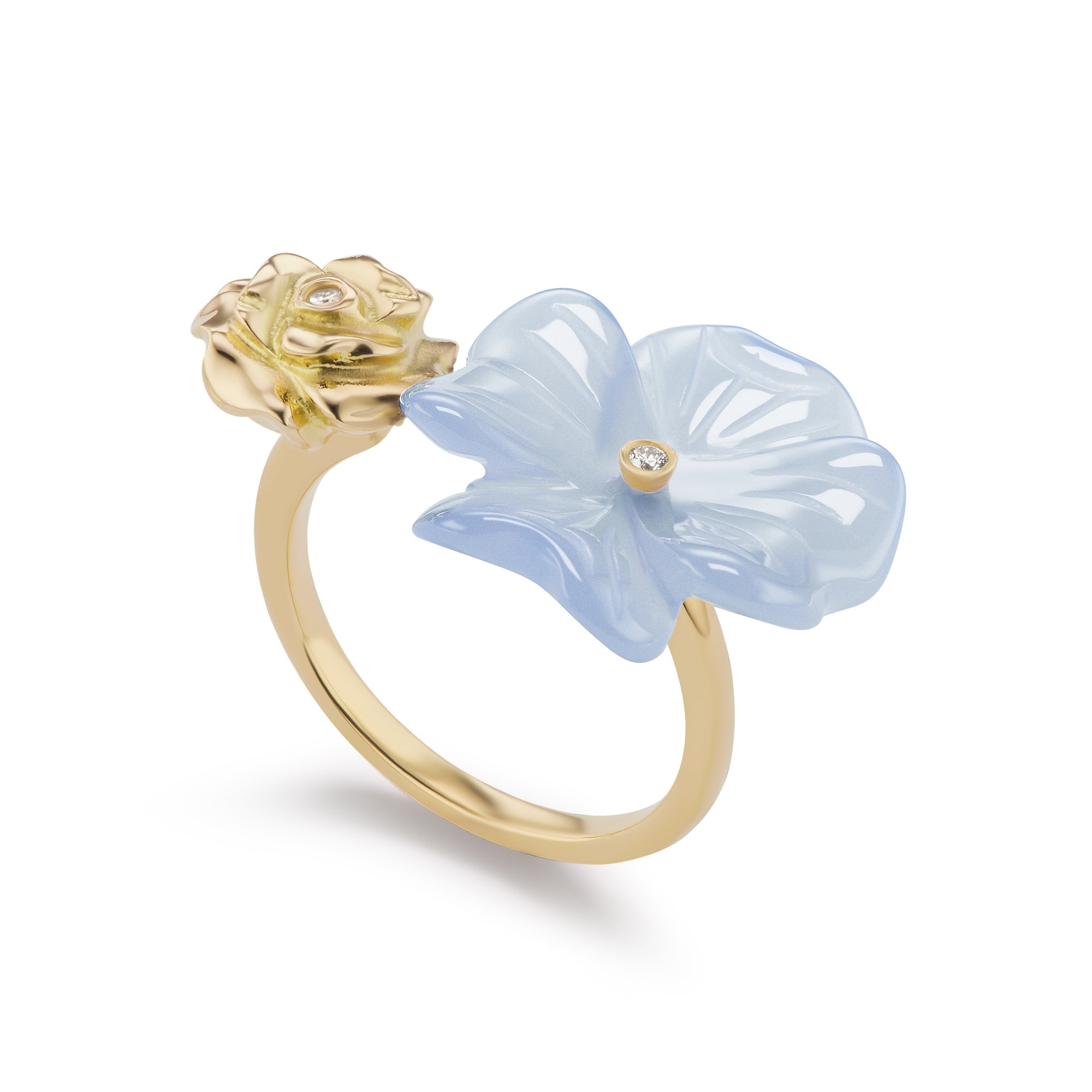 Clover & Rose Double-Sided Ring