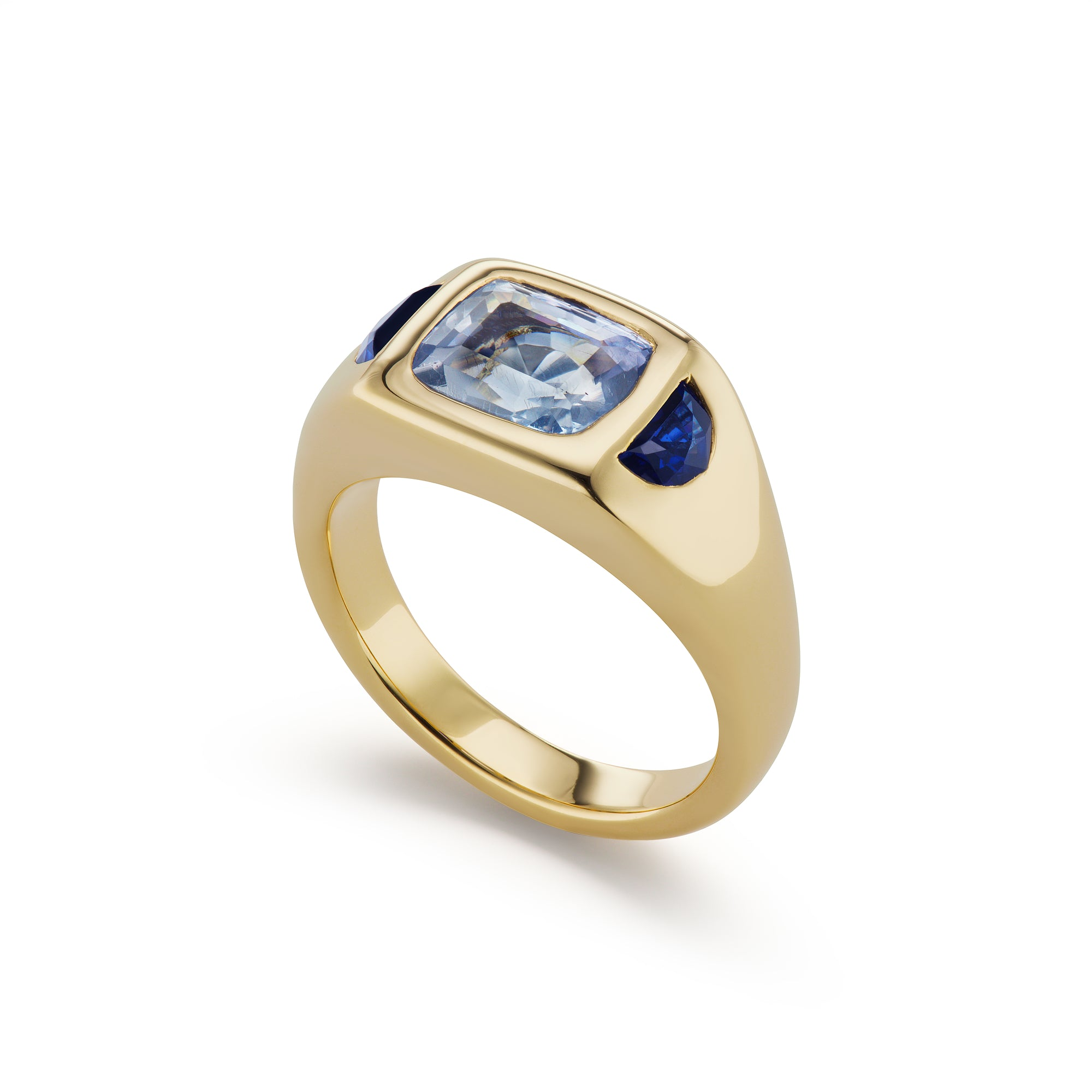 One-of-a-Kind Blue Sapphire Gypsy Ring with Half-Moon Sides
