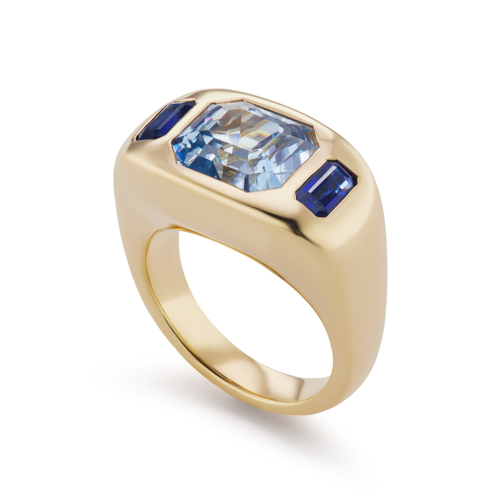 One-of-a-Kind Blue Sapphire Gypsy Ring with Baguette Sides