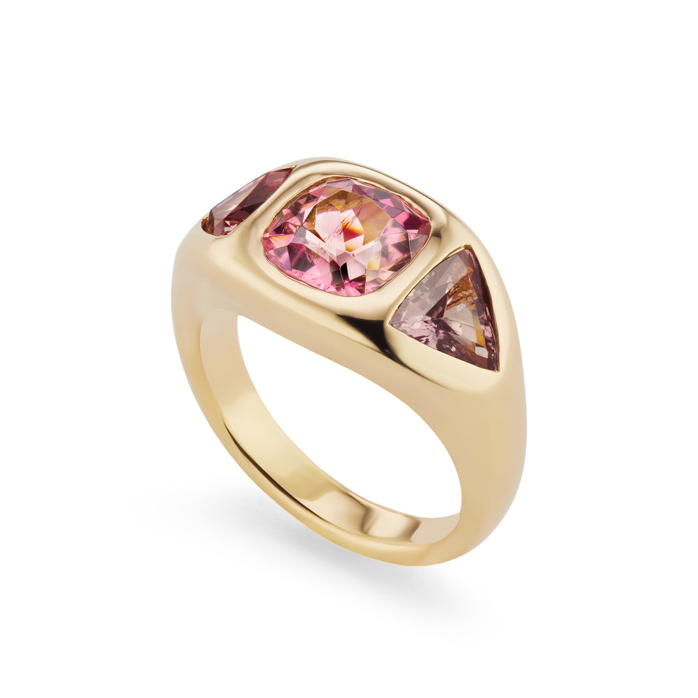 One-of-a-Kind Pink Tourmaline and Sapphire Gypsy Ring