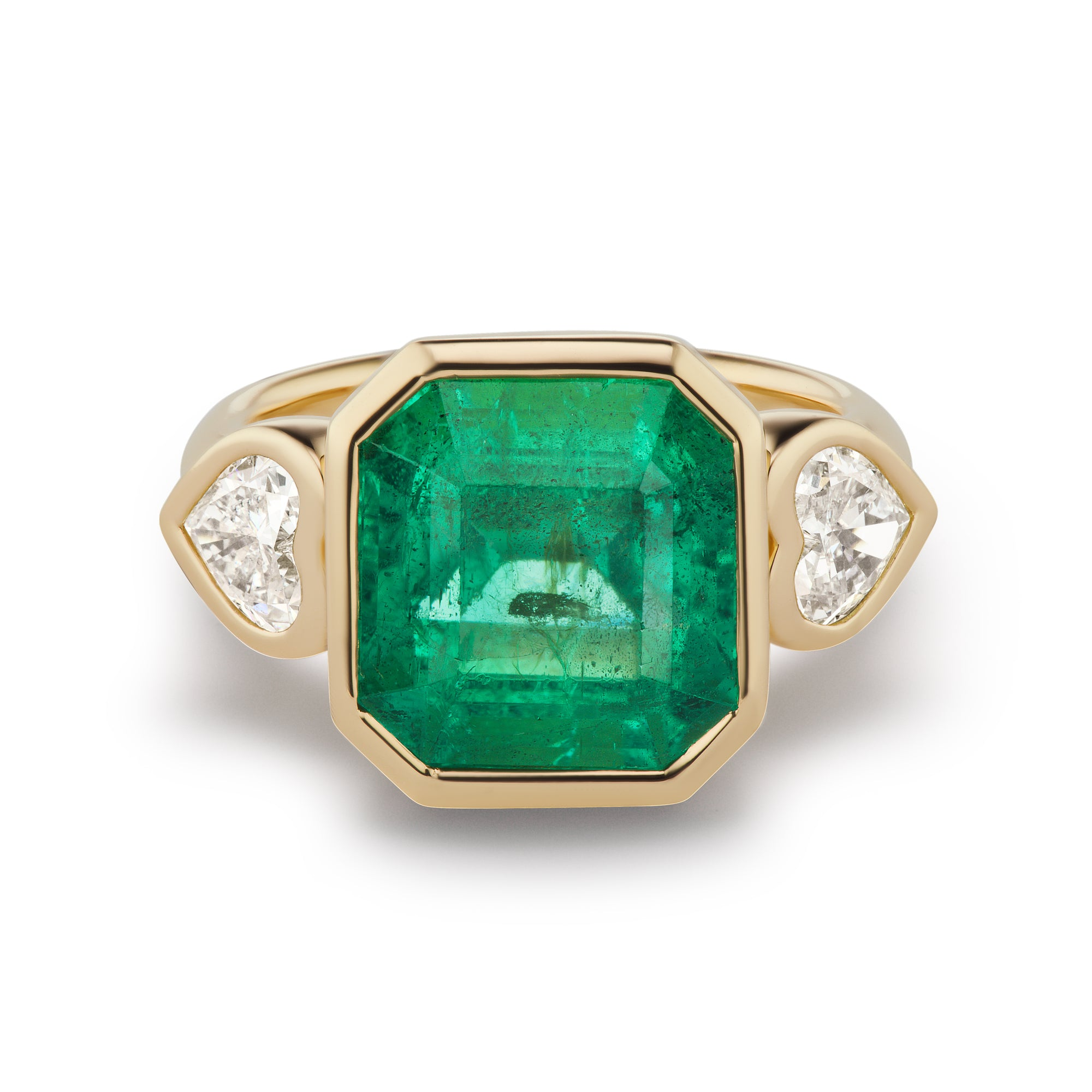 One-of-a-Kind Emerald Ring with Diamond Heart Sides