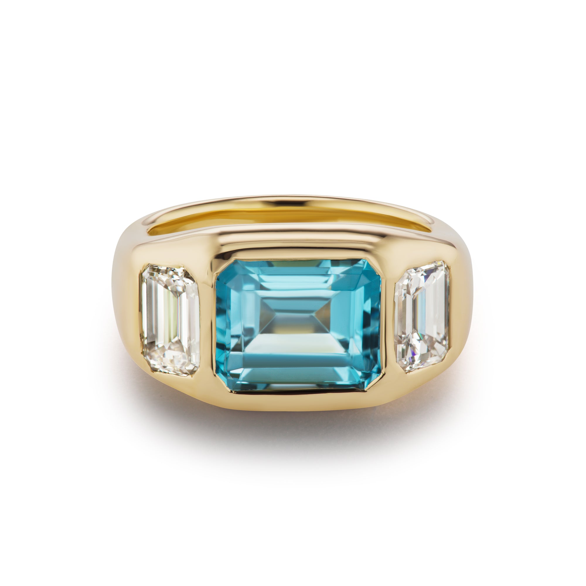 One-of-a-Kind Aquamarine and Diamond Gypsy Ring