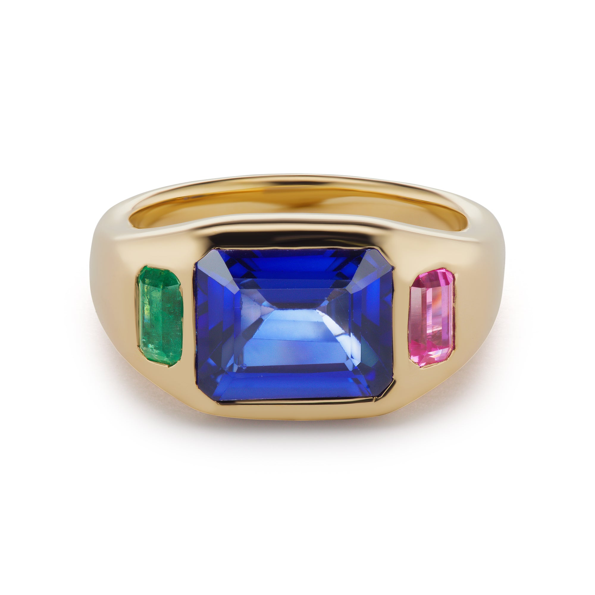 One-of-a-Kind Blue Sapphire Gypsy Ring with Emerald and Pink Topaz Sides
