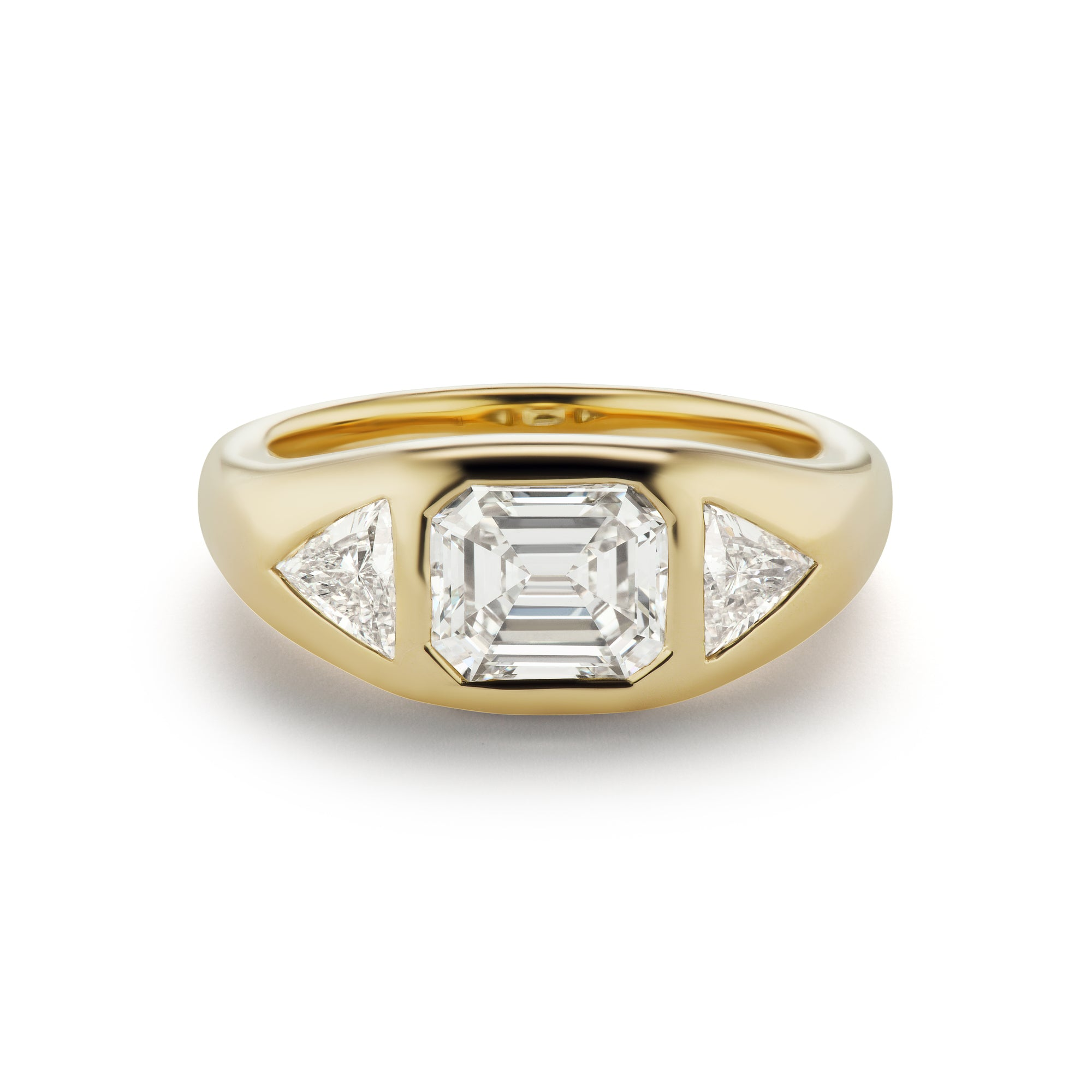 One-of-a-Kind Emerald-Cut Diamond Gypsy Ring