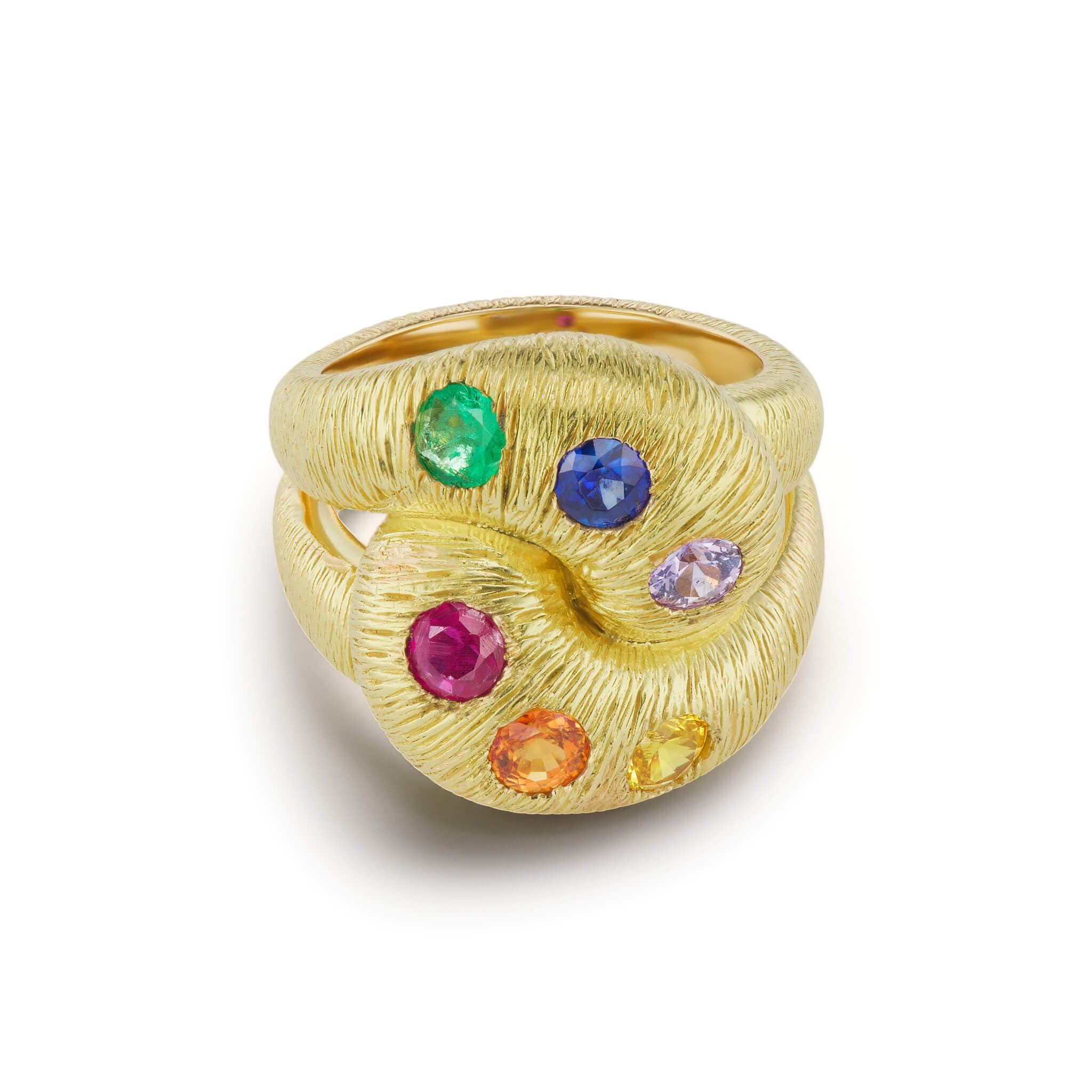 Textured Knot Ring with Multi-colored Sapphires