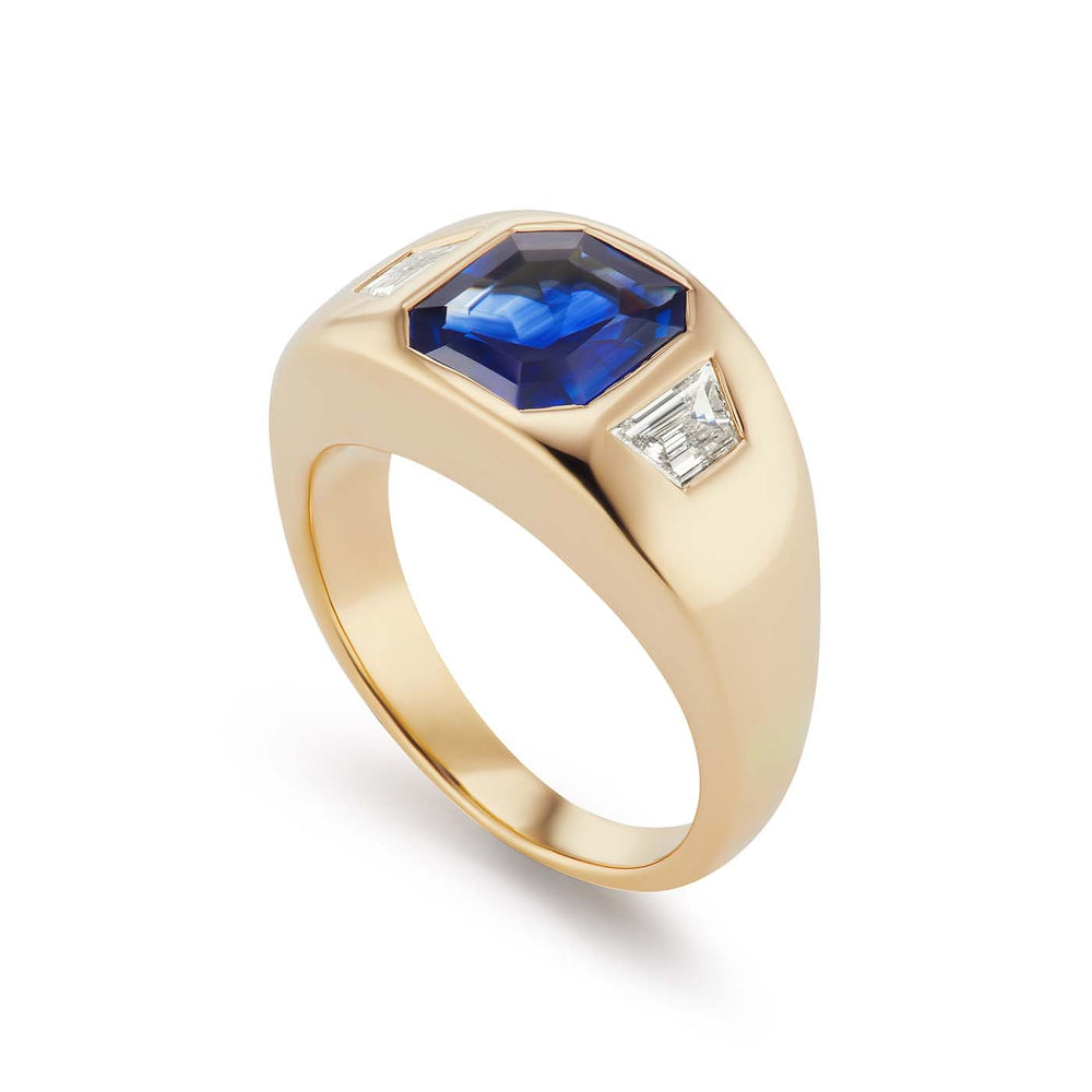 One-of-a-Kind Asscher Cut Sapphire Gypsy with Diamond Sides