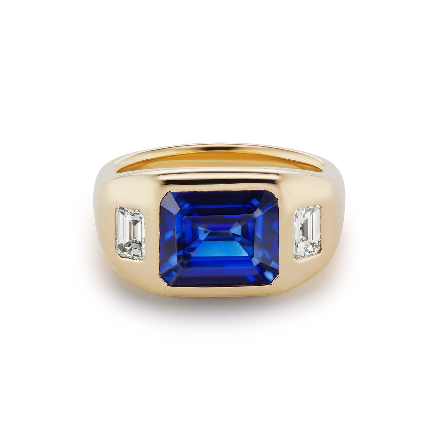 One-of-a-Kind Emerald Cut Sapphire Gypsy with Emerald Cut Diamond Sides