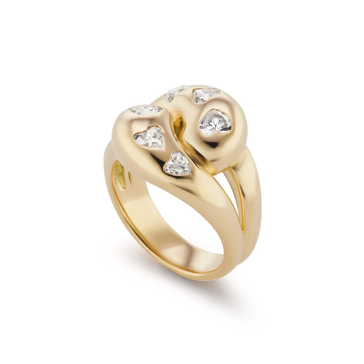 Knot Ring with 6 Diamond Hearts
