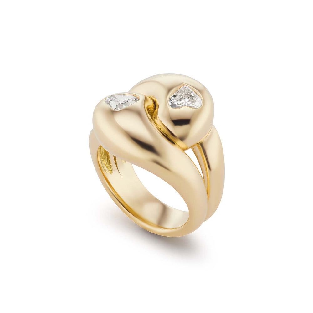 Knot Ring with 2 Diamond Hearts