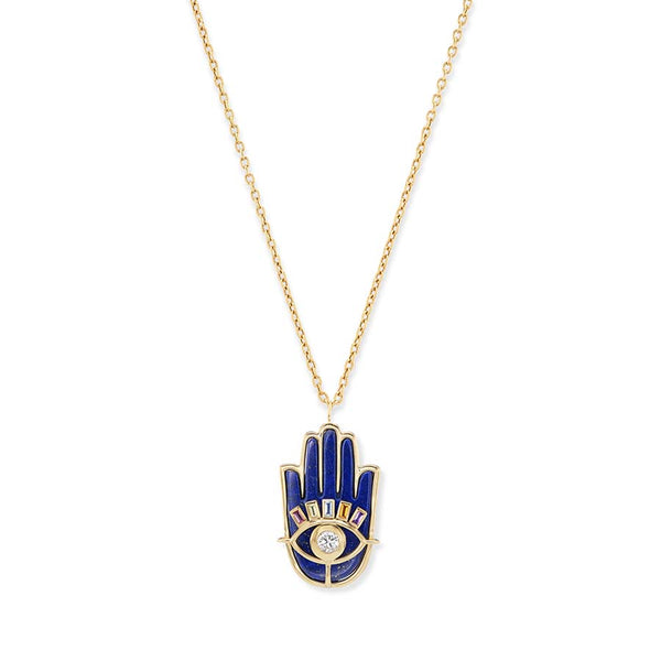 Carved Lapis & Malachite Shell Pendant