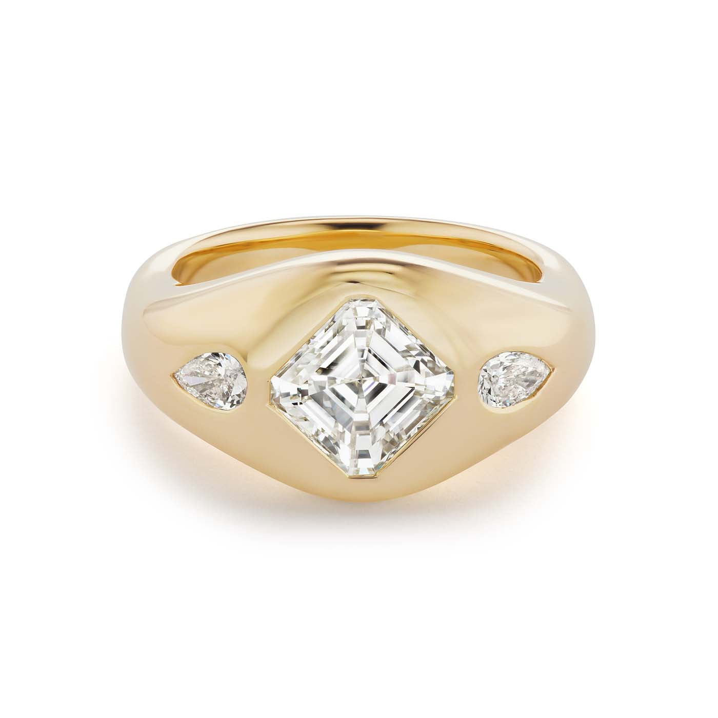 One-of-a-Kind Asscher Diamond Gypsy with Pear Sides