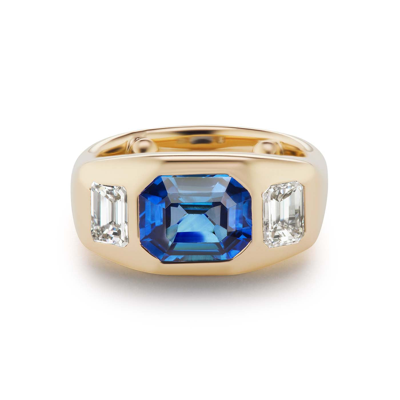 One-of-a-Kind Emerald Cut Sapphire Gypsy with Diamond Sides