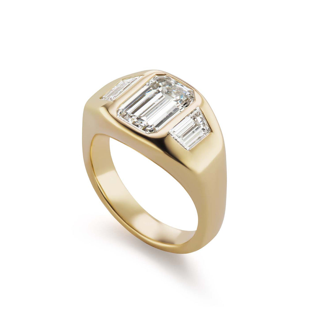 One-of-a-Kind North-South Emerald-Cut Diamond Gypsy with Trapezoid Diamond Sides