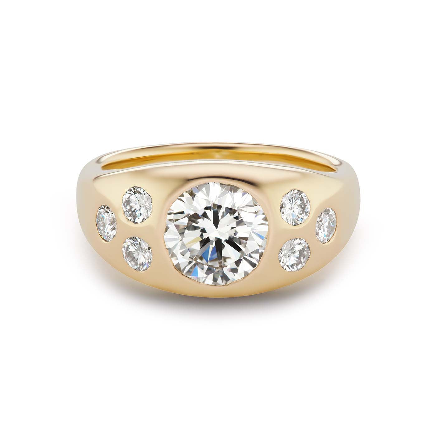 One-of-a-Kind Round Diamond Gypsy with Diamond Accents
