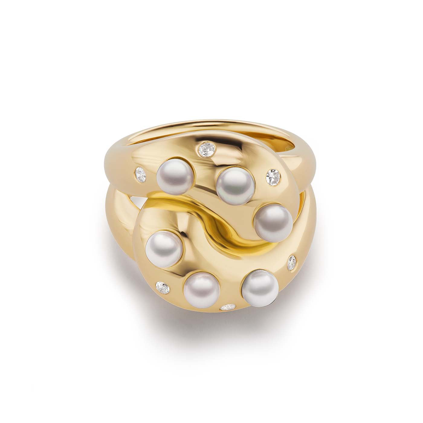 Pearl & Diamond Knot Ring