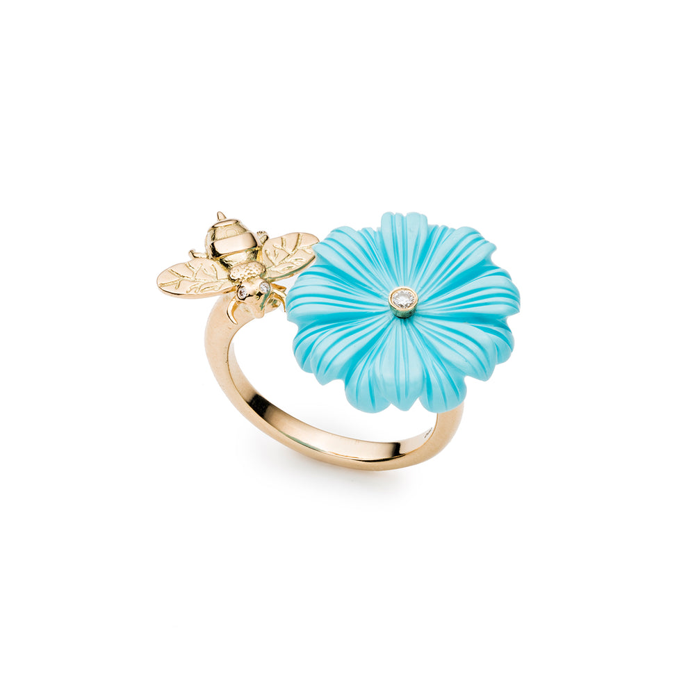 Wildflower & Bee Double Sided Ring